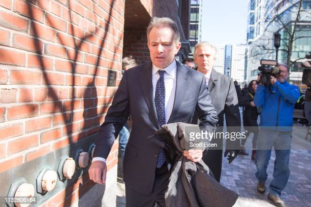 Gordon Ernst former head coach of the men's and women's tennis teams at Georgetown University leaves following his arraignment at Boston Federal...