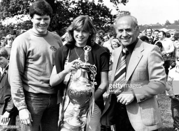 Gordon Ferris Sharron Davies and Aston Villa Manager Ron Saunders Sharron Davies holding the League Championship Trophy which Aston Villa won in 1981...