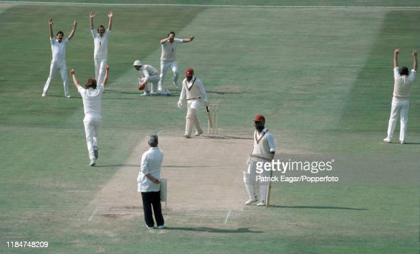 Gordon Greenidge of West Indies is caught behind by England wicketkeeper Alan Knott off the bowling of Bob Willis during the 1st Test match between...