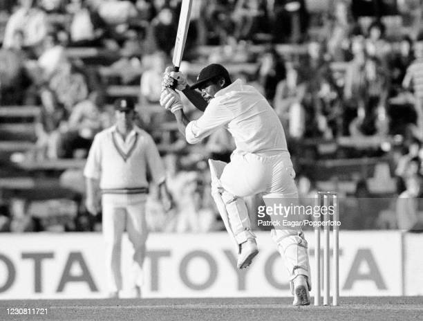 Gordon Greenidge of West Indies, wearing his Hampshire cap, batting during the Courage Challenge Cup International Batsman of the Year single-wicket...