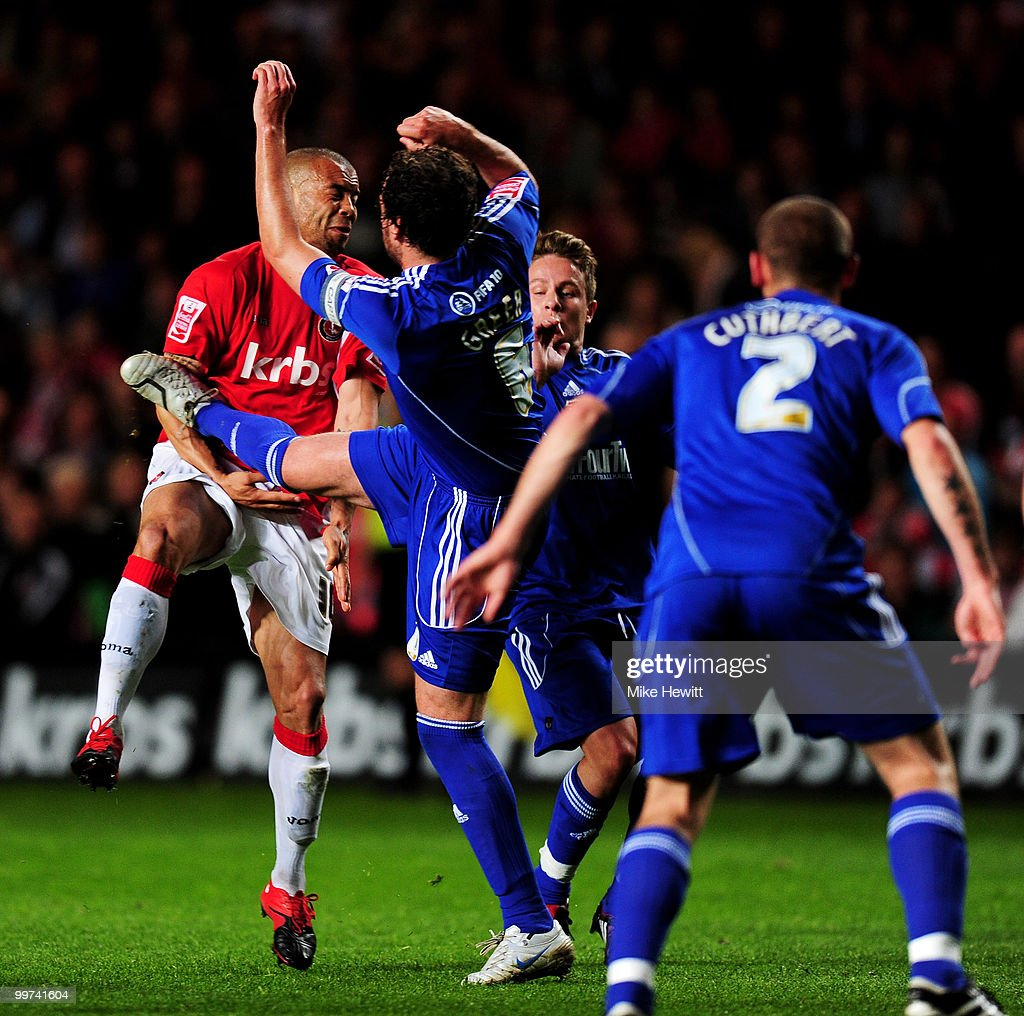 Gordon Greer of Swindon is sent off after this high tackle on Deon Burton of Charlton during the Coca-Cola League One Playoff Semi Final 2nd Leg between Charlton Athletic and Swindon Town at The Valley on May 17, 2010 in London, England.