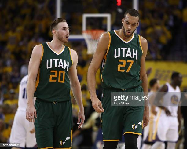 Gordon Hayward and Rudy Gobert of the Utah Jazz react against the Golden State Warriors during Game One of the NBA Western Conference SemiFinals at...