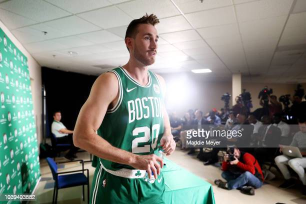 Gordon Hayward exits a press conference on Boston Celtics Media Day on September 24 2018 in Canton Massachusetts NOTE TO USER User expressly...