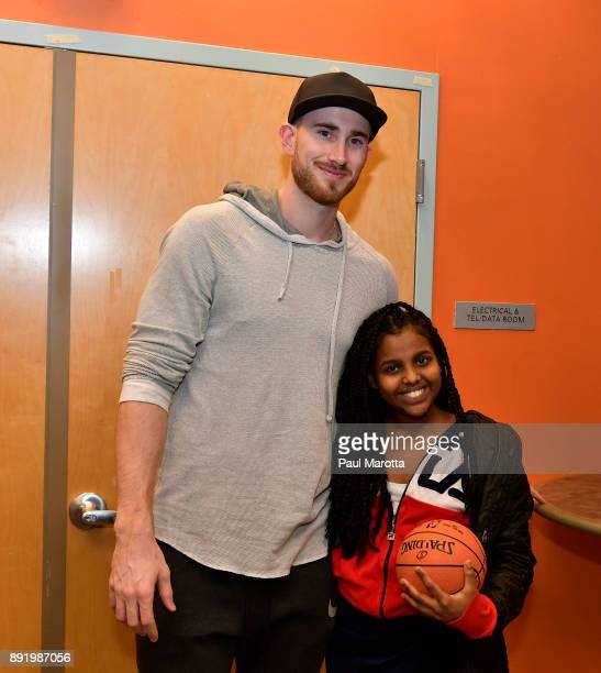 Gordon Hayward gives away signed basketballs and Destiny 2 games to teen members of Boys Girls Clubs of Boston on December 13 2017 in Boston...