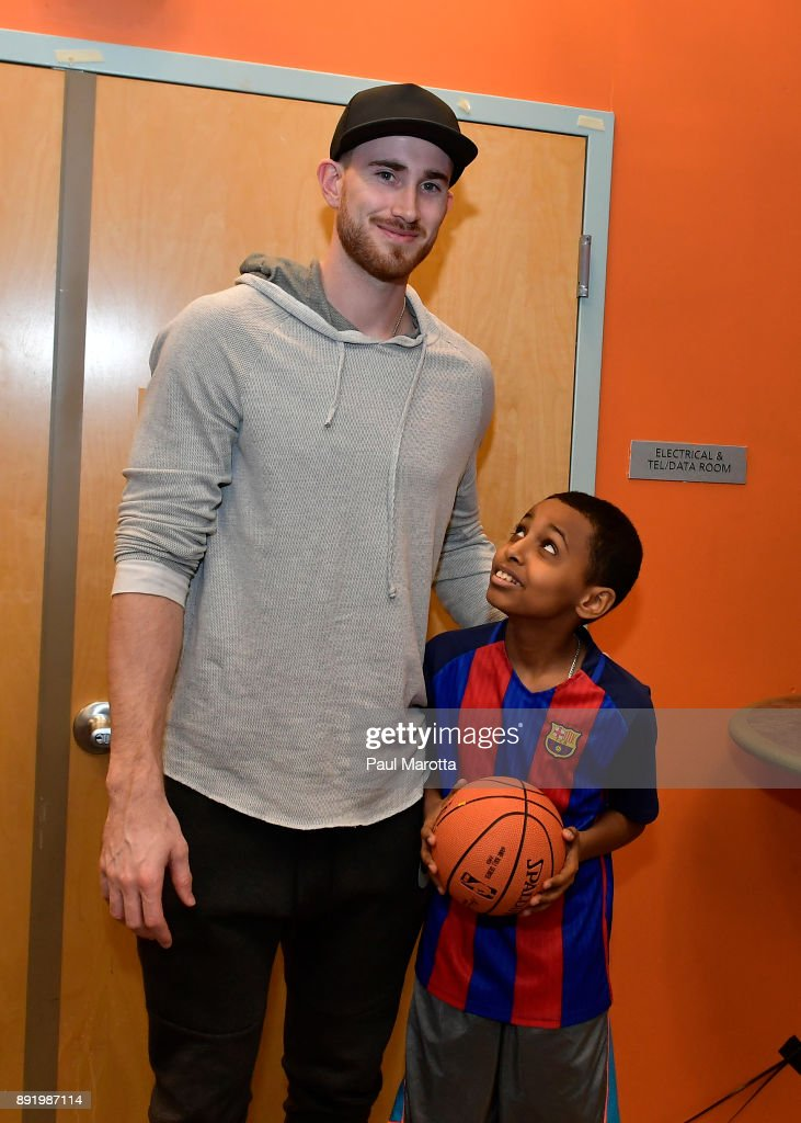 Gordon Hayward gives away signed basketballs and Destiny 2 games to teen members of Boys & Girls Clubs of Boston on December 13, 2017 in Boston, Massachusetts.