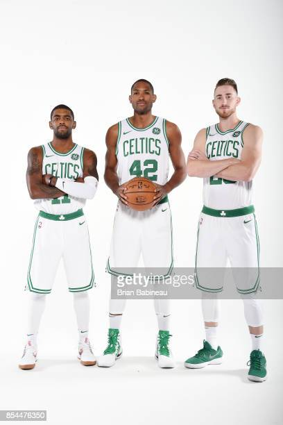 Gordon Hayward Kyrie Irving and Al Horford of the Boston Celtics pose for a portrait during the 201718 NBA Media Day on September 25 2017 at the TD...