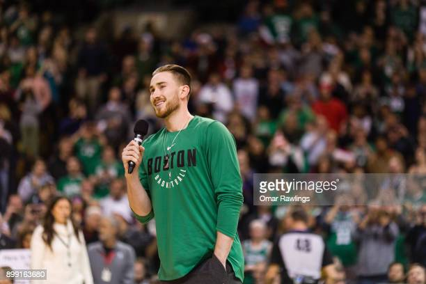 Gordon Hayward of the Boston Celtics addresses the crowd before the game between Boston Celtics and the Washington Wizards at TD Garden on December...