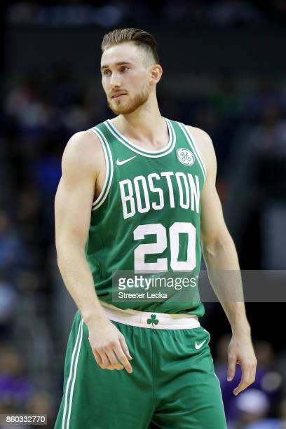 Gordon Hayward of the Boston Celtics against the Charlotte Hornets during their game at Spectrum Center on October 11 2017 in Charlotte North...