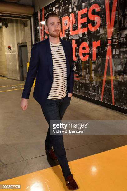 Gordon Hayward of the Boston Celtics arrives at the arena before the game against the Los Angeles Lakers on January 23 2018 at STAPLES Center in Los...