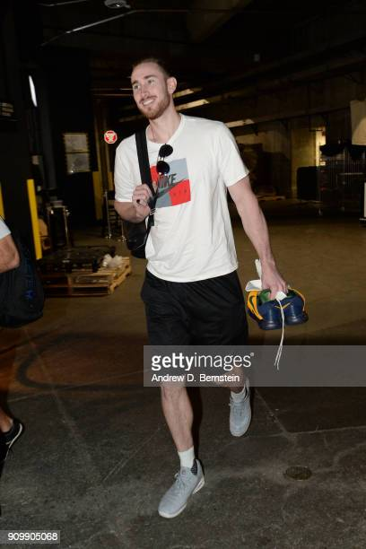 Gordon Hayward of the Boston Celtics arrives before the game against the LA Clippers on January 24 2018 at STAPLES Center in Los Angeles California...
