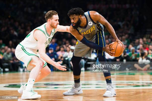Gordon Hayward of the Boston Celtics defends Tyreke Evans of the Indiana Pacers at TD Garden on March 29 2019 in Boston Massachusetts NOTE TO USER...