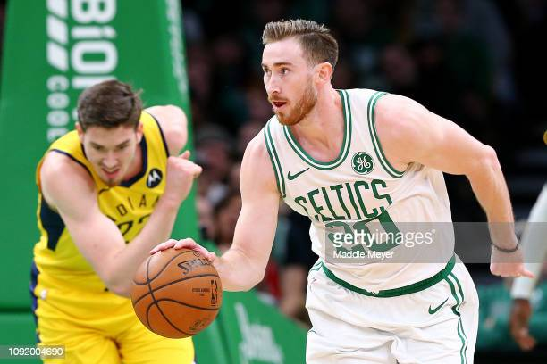 Gordon Hayward of the Boston Celtics dribbles against the Indiana Pacers during the second half of the game at TD Garden on January 09 2019 in Boston...