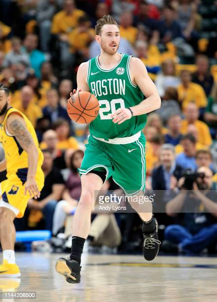 Gordon Hayward of the Boston Celtics dribbles the ball against the Indiana Pacers in game four of the first round of the 2019 NBA Playoffs at Bankers...