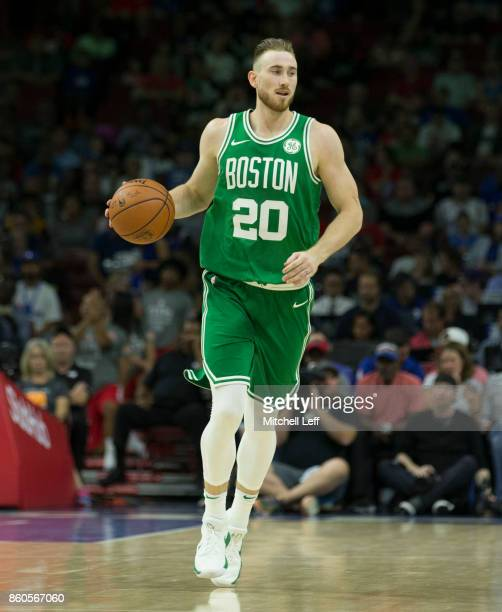 Gordon Hayward of the Boston Celtics dribbles the ball against the Philadelphia 76ers at the Wells Fargo Center on October 6 2017 in Philadelphia...