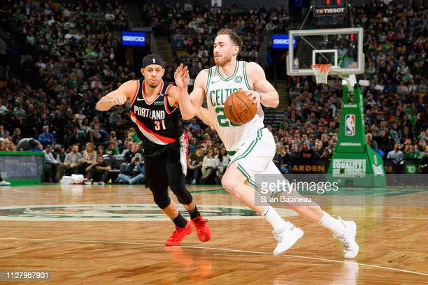 Gordon Hayward of the Boston Celtics dribbles the ball during the game against Seth Curry of the Portland Trail Blazers on February 27 2019 at the TD...