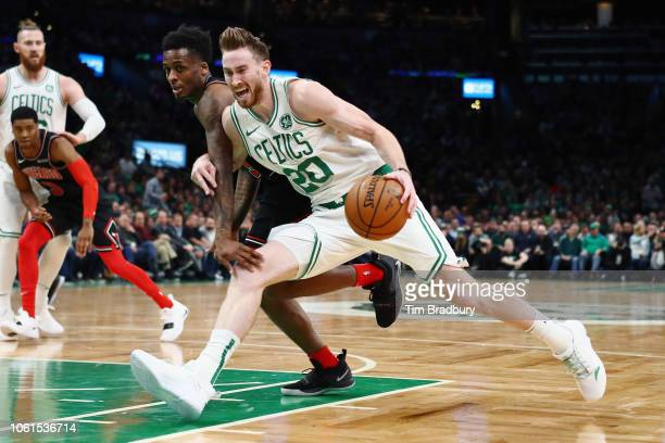 Gordon Hayward of the Boston Celtics drives to the basket against Antonio Blakeney of the Chicago Bulls during the first half at TD Garden on...