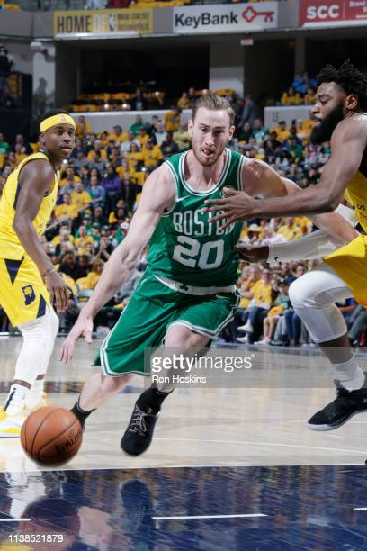 Gordon Hayward of the Boston Celtics drives to the basket against the Indiana Pacers during Game Four of Round One of the 2019 NBA Playoffs on April...