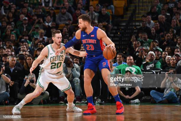 Gordon Hayward of the Boston Celtics guards Blake Griffin of the Detroit Pistons on October 30, 2018 at the TD Garden in Boston, Massachusetts. NOTE...