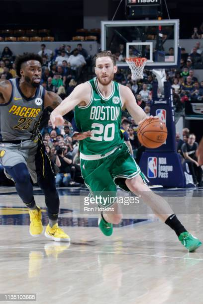 Gordon Hayward of the Boston Celtics handles the ball against the Indiana Pacers on April 5 2019 at Bankers Life Fieldhouse in Indianapolis Indiana...