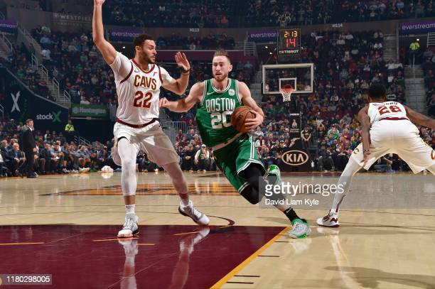 Gordon Hayward of the Boston Celtics handles the ball against the Cleveland Cavaliers on November 5 2019 at Quicken Loans Arena in Cleveland Ohio...