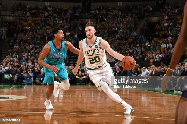 Gordon Hayward of the Boston Celtics handles the ball against the Charlotte Hornets during a preseason game on October 2 2017 at the TD Garden in...
