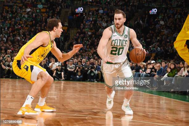 Gordon Hayward of the Boston Celtics handles the ball during the game against Bojan Bogdanovic of the Indiana Pacers on January 9 2019 at the TD...