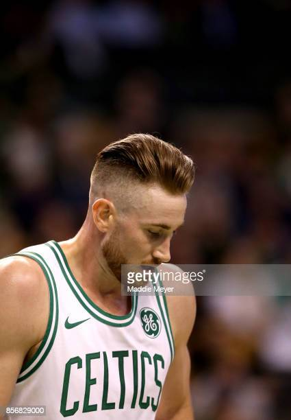Gordon Hayward of the Boston Celtics looks on during the first half against the Charlotte Hornets at TD Garden on October 2 2017 in Boston...