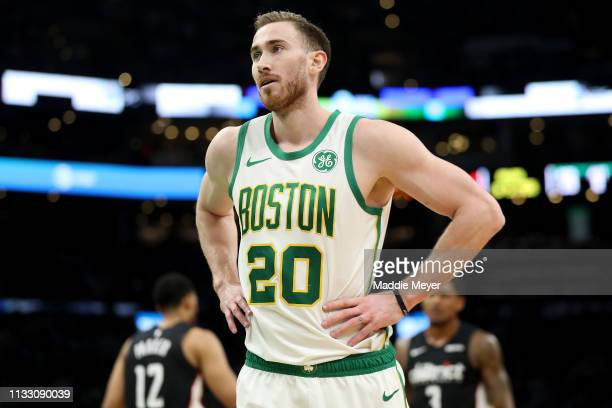Gordon Hayward of the Boston Celtics looks on during the first quarter against the Washington Wizards at TD Garden on March 01 2019 in Boston...