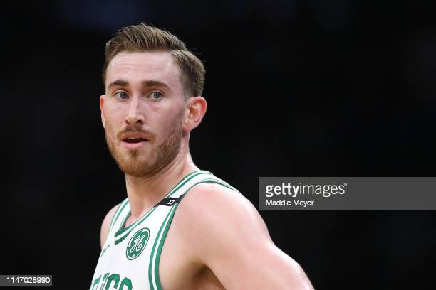 Gordon Hayward of the Boston Celtics looks on during the second quarter of Game 3 of the Eastern Conference Semifinals of the 2019 NBA Playoffs at TD...