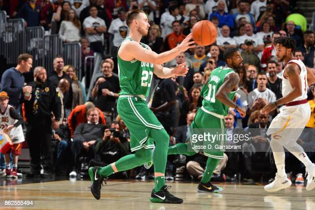 Gordon Hayward of the Boston Celtics passes the ball against the Cleveland Cavaliers on October 17 2017 at Quicken Loans Arena in Cleveland Ohio NOTE...