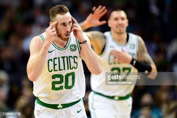 Gordon Hayward of the Boston Celtics reacts after making a shot during the second quarter during their game against the Charlotte Hornets at Spectrum...
