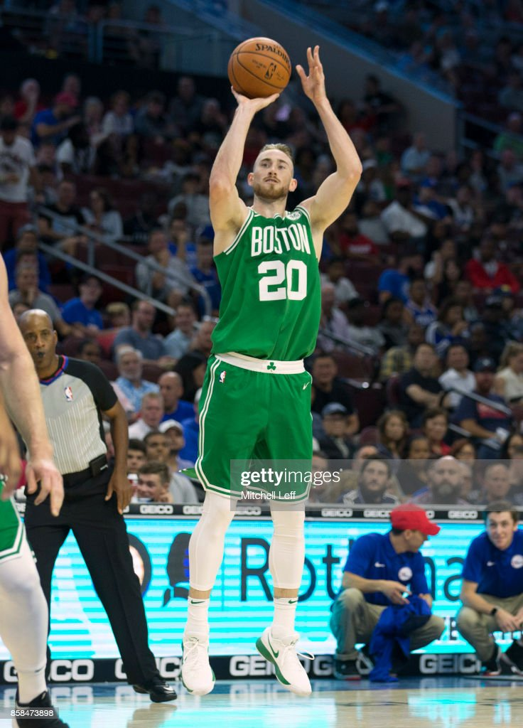 Gordon Hayward #20 of the Boston Celtics shoots the ball against the Philadelphia 76ers in the second quarter of the preseason game at the Wells Fargo Center on October 6, 2017 in Philadelphia, Pennsylvania. The Celtics defeated the 76ers 110-102.