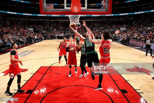 Gordon Hayward of the Boston Celtics shoots the ball against the Chicago Bulls on December 8 2018 at the United Center in Chicago Illinois NOTE TO...