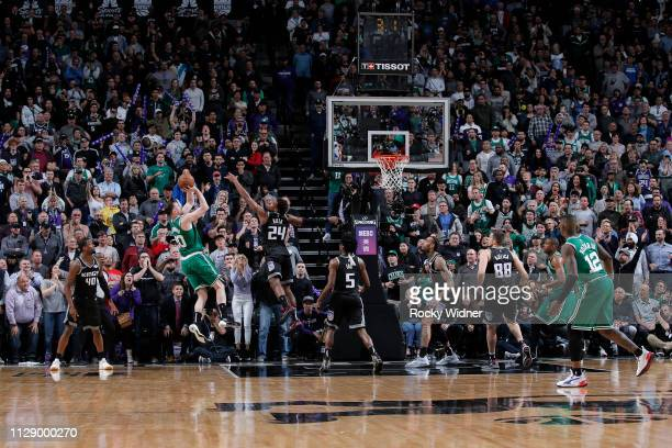 Gordon Hayward of the Boston Celtics shoots the ball to win the game against the Sacramento Kings on March 6 2019 at Golden 1 Center in Sacramento...