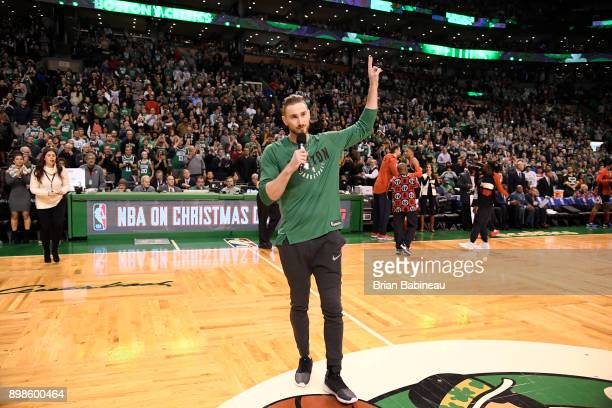 Gordon Hayward of the Boston Celtics speaks to crowd during game against the Washington Wizards on December 25 2017 at the TD Garden in Boston...