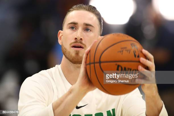 Gordon Hayward of the Boston Celtics warms up prior to playing the Cleveland Cavaliers at Quicken Loans Arena on October 17 2017 in Cleveland Ohio...