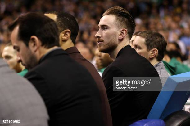 Gordon Hayward of the Boston Celtics watches from the bench during the first quarter of the Celtics game against the Golden State Warriors at TD...
