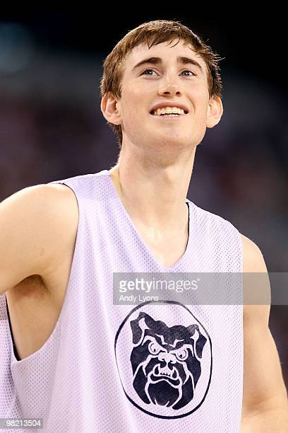 Gordon Hayward of the Butler Bulldogs looks on during practice prior to the 2010 Final Four of the NCAA Division I Men's Basketball Tournament at...