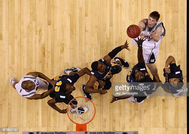 Gordon Hayward of the Butler Bulldogs takes a shot against the Murray State Racers during the second round of the 2010 NCAA men's basketball...