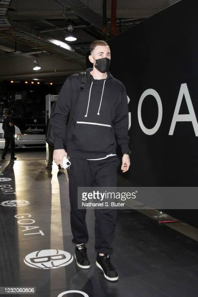 Gordon Hayward of the Charlotte Hornets arrives to the arena before the game against the Brooklyn Nets on April 1, 2021 at Barclays Center in...
