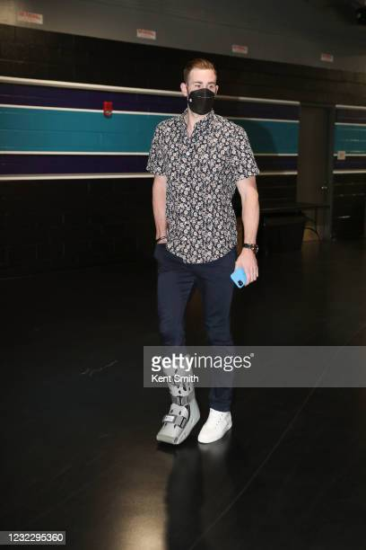 Gordon Hayward of the Charlotte Hornets arrives to the arena before the game against the Los Angeles Lakers on April 13, 2021 at Spectrum Center in...