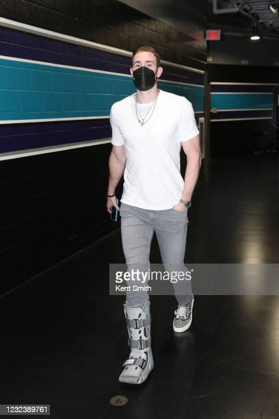 Gordon Hayward of the Charlotte Hornets arrives to the arena before the game against the Portland Trail Blazers on April 18, 2021 at Spectrum Center...