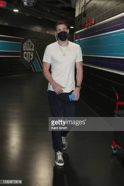 Gordon Hayward of the Charlotte Hornets arrives to the arena before the game against the LA Clippers on May 13, 2021 at Spectrum Center in Charlotte,...