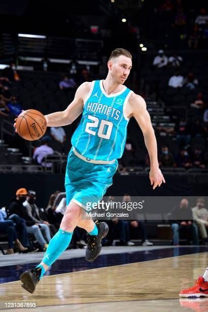 Gordon Hayward of the Charlotte Hornets dribbles during the game against the Phoenix Suns on February 24, 2021 at Talking Stick Resort Arena in...