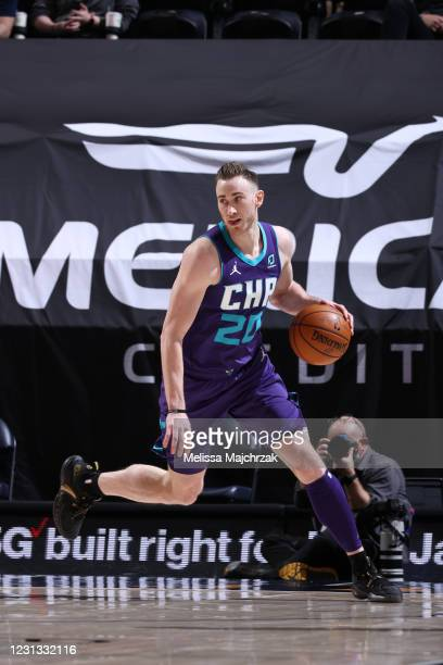 Gordon Hayward of the Charlotte Hornets dribbles the ball during the game against the Utah Jazz on February 22, 2021 at vivint.SmartHome Arena in...