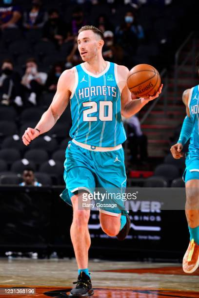 Gordon Hayward of the Charlotte Hornets dribbles the ball during the game against the Phoenix Suns on February 24, 2021 at Talking Stick Resort Arena...