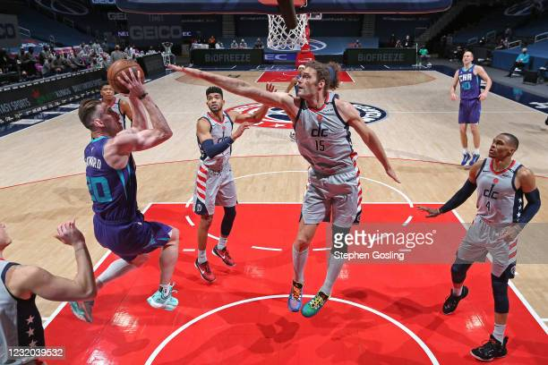 Gordon Hayward of the Charlotte Hornets drives to the basket against the Washington Wizards on March 30, 2021 at Capital One Arena in Washington, DC....