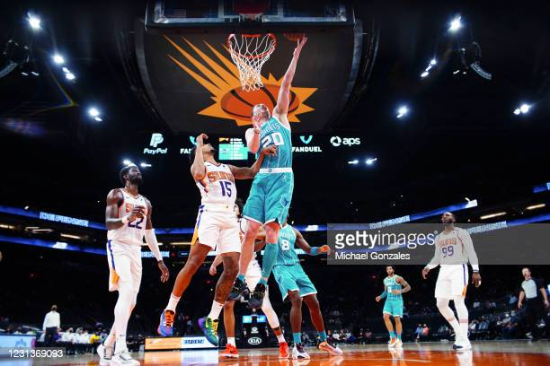 Gordon Hayward of the Charlotte Hornets drives to the basket during the game against the Phoenix Suns on February 24, 2021 at Talking Stick Resort...
