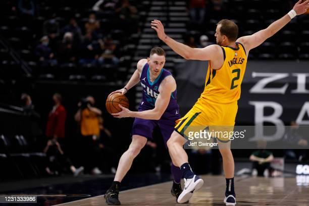 Gordon Hayward of the Charlotte Hornets handles the ball against the Utah Jazz on February 22, 2021 at vivint.SmartHome Arena in Salt Lake City,...