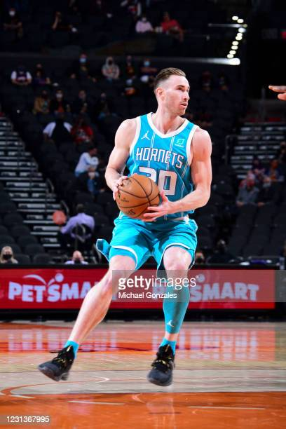 Gordon Hayward of the Charlotte Hornets handles the ball during the game against the Phoenix Suns on February 24, 2021 at Talking Stick Resort Arena...